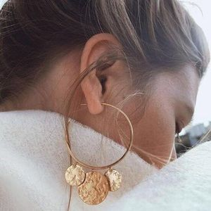 Chic Disc Cuff Hoops Gold Hammered Earrings Large